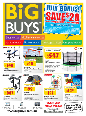 Big buys kitchenwware, baby, sports, fitness, camping and more at Harveynorman.com.au