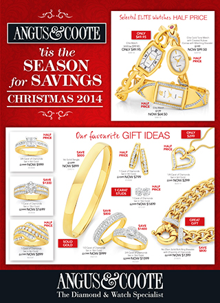 Angus & Coote season for savings christmas offers jewellery, watch and giftware special