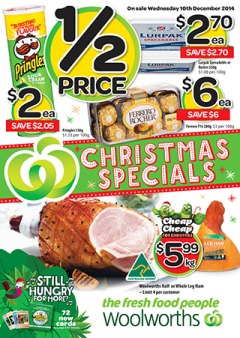 Woolworths weekly Christmas specials catalogue offers saving groceries, foods and more
