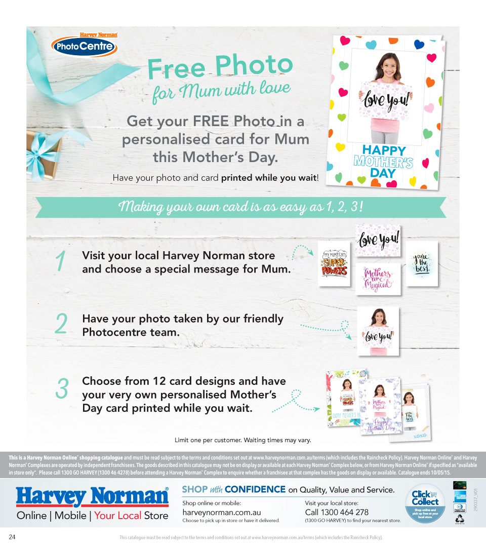 Get FREE Photo in a Personalised Card for Mum