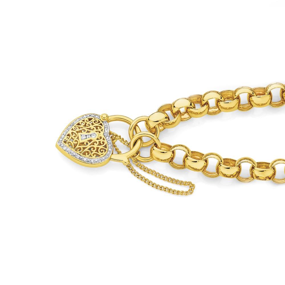 9ct Gold 19cm Belcher Diamond Padlock Bracelet Angus