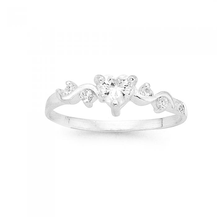 Silver Cubic Zirconia Heart Ring Prouds Catalogue