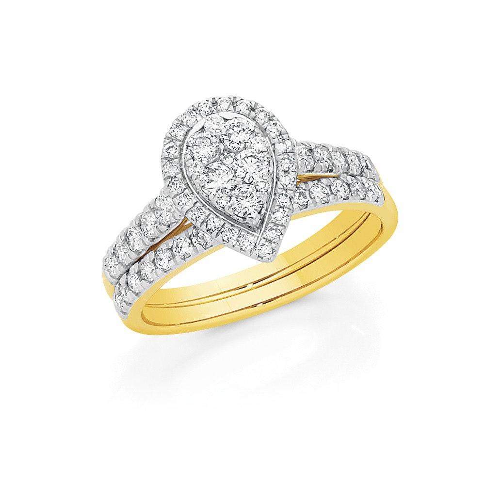 18ct Gold Diamond Pear Shape Bridal Set Angus Coote Catalogue