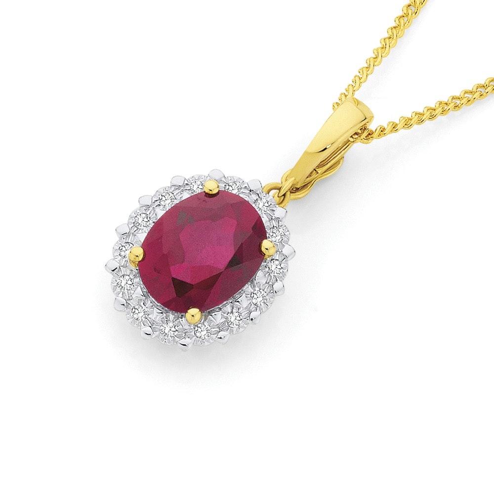 9ct Gold Created Ruby & Diamond Oval Pendant