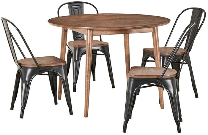NEW Tara 5 Piece Dining Set With Replica Tolix Chairs With Bamboo
