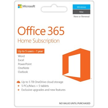 Microsoft - Office 365 Home 2016 eVoucher - 1 year subscription