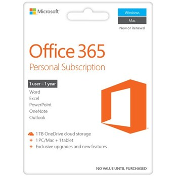 Microsoft - Office 365 Personal 2016 eVoucher - 1 Year Subscription