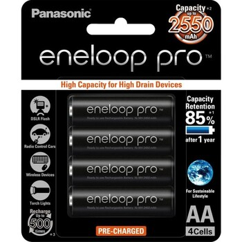 Panasonic AA Eneloop Pro Rechargeable Batteries