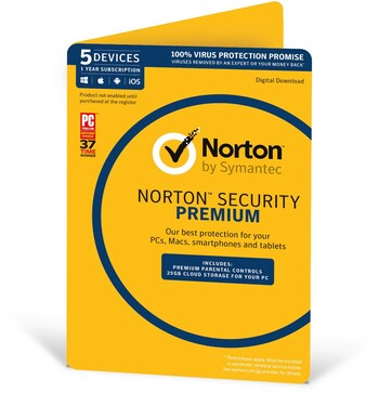 Norton Security Premium - 5 Devices, 1 Year Subscription
