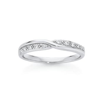 9ct White Gold Twist Over Diamond Band