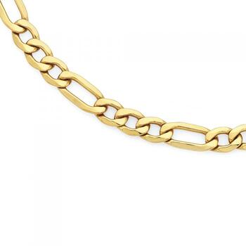 9ct Gold on Silver Solid 55cm 3+1 Figaro Chain
