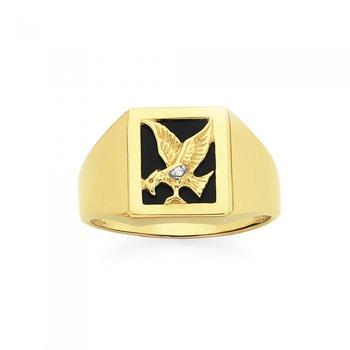 9ct Gold Onyx & Diamond Eagle Ring