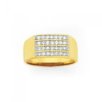 9ct Gold Men's Diamond Ring 0.50ct Total Diamond Weight