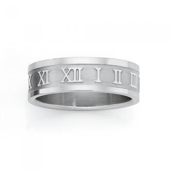 Steel Roman Numeral Guys Ring