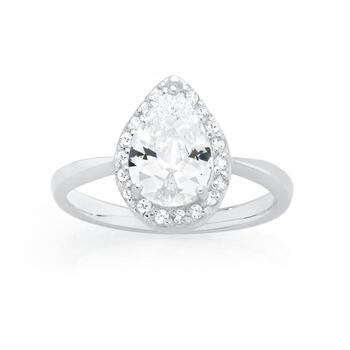 Silver CZ Pear Shape Cluster Ring