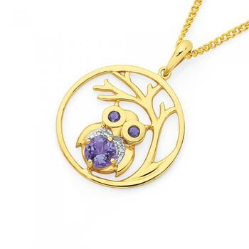 9ct Gold Amethyst & Diamond Owl Tree Pendant