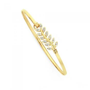 9ct Gold Two Tone 60mm Leaf Bangle
