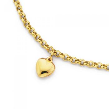 9ct Gold 25cm Belcher Anklet with Heart Charm