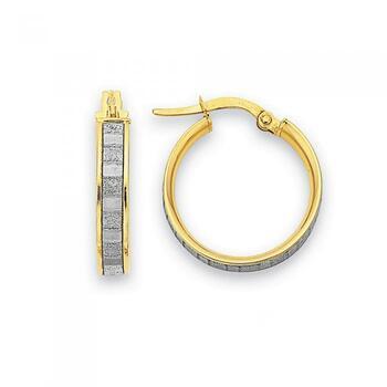 9ct Gold Medium Stardust Hoop Earrings