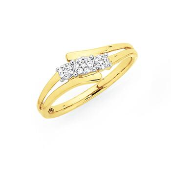 9ct Gold Diamond Cluster Trilogy Offset Dress Ring