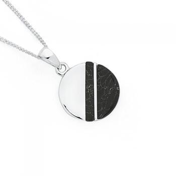 Silver Black Howlite Marble Luna Pendant