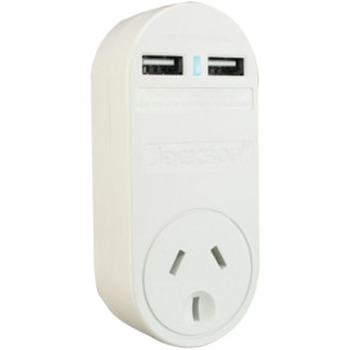 2 USB Charger with Mains Power Outlet 1 Amp