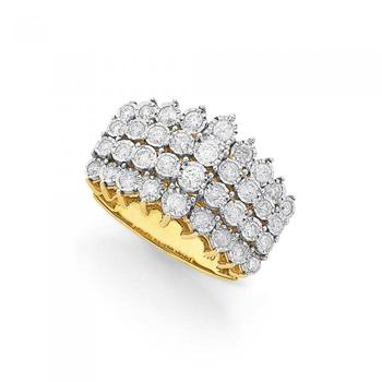 9ct Gold Diamond Four Row Bubble Band