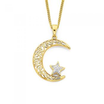 9ct Gold Two Tone Star & Crescent Mood Pendant