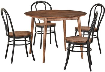 Tara 5 Piece Dining Set with Replica Bentwood Bamboo Chairs
