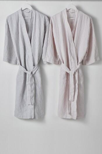 Hampton Stripe Linen Bathrobe