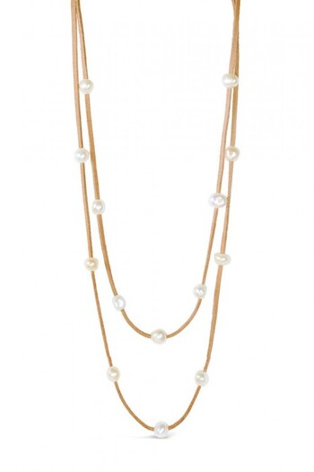By Fairfax & Roberts Real Pearl And Suede Multi Necklace And Bracelet