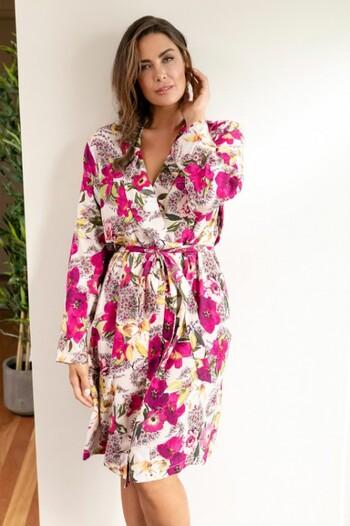 Sara Short Robe with Long Sleeves
