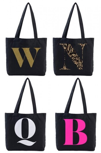 Personalised Black Canvas Initial Tote