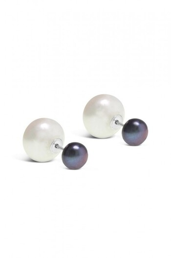 By Fairfax & Roberts Real Pearl Modern Twist Duo Stud Earrings