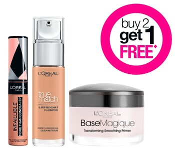 Buy 2 Get 1 FREE on L'Oréal Paris Cosmetic Range
