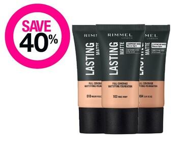 Save 40% on Rimmel London Cosmetic Range
