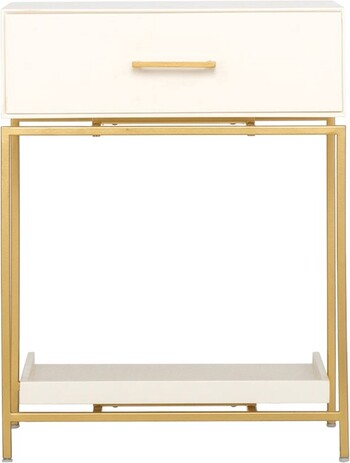 Saskia 1 Drawer Bedside Table in Ivory & Gold