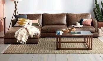 Hamilton 3 Seat Leather Modular Sofa with Chaise
