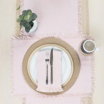 Ashra Fringed Blush Table Linen by M.U.S.E.
