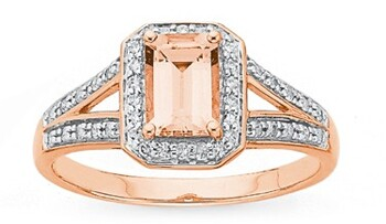 9ct Rose Gold Morganite Dress Ring