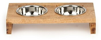 Harmony Cat Ear Wooden Double Diner Stainless Steel Cat Bowl