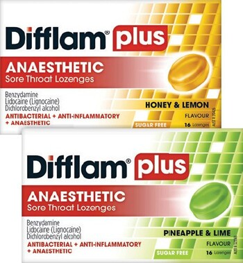 Difflam Plus Anaesthetic Sore Throat 16 Lozenges Range