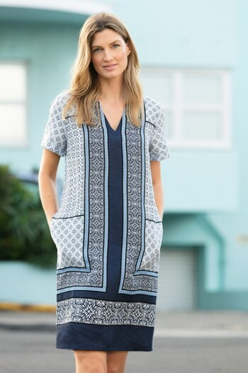 Capture Linen Scarf Print Dress