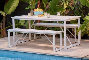 Haiti 4 Seater Steel Bench Set