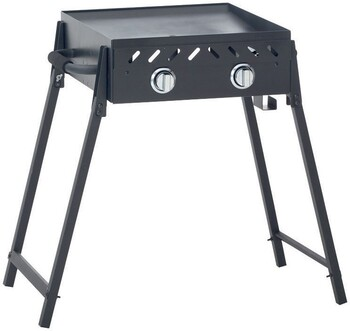 Grilled Solid Plate 2 Burner BBQ with Folding Legs