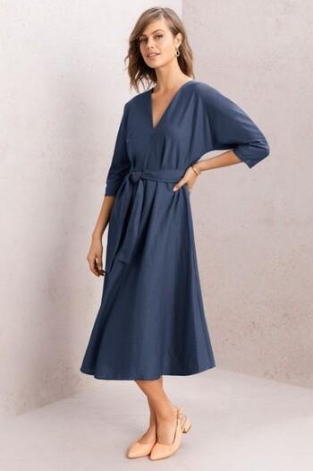 Grace Hill Belted Linen Dress