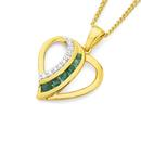 9ct-Gold-Emerald-Diamond-Heart-Pendant Sale