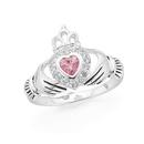 Sterling-Silver-Pink-Cubic-Zirconia-Claddagh-Ring Sale