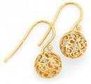 9ct-Gold-Two-Tone-Gold-Filigree-Ball-Drop-Earrings Sale