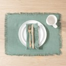 Ashra-Fringed-Forest-Green-Table-Linen-by-M.U.S.E Sale